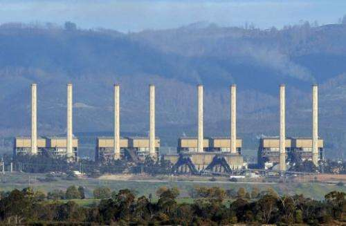 Hazelwood power station billows smoke from its exhaust stacks in the Latrobe Valley, on August 13, 2009