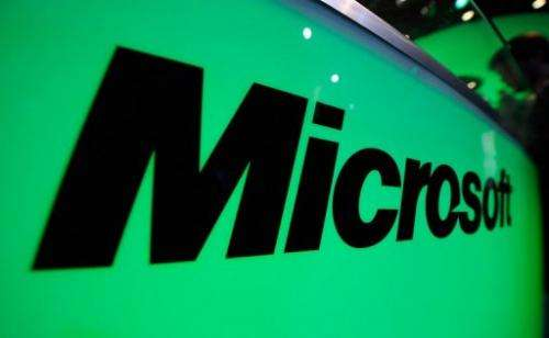 Microsoft logo is seen displayed during an IT fair in Los Angeles, California, on June 7, 2011