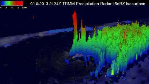 NASA 3-D image clearly shows wind shear's effect on Tropical Storm Gabrielle