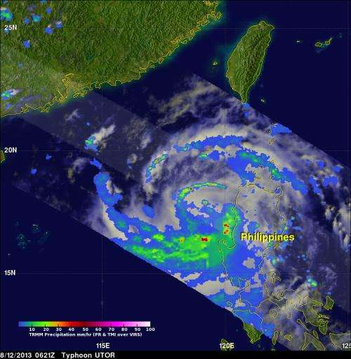 NASA identifies heavy rainfall in South China Sea's Typhoon Utor