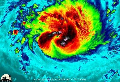 NASA sees some powerful 'overshooting cloud tops' in Cyclone Felleng
