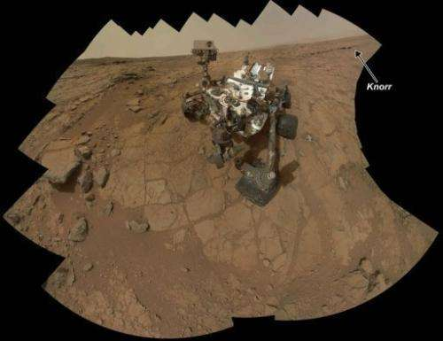 NASA's Mars rover Curiosity combining 66 exposures taken by the rover on Mars on February 3, 2013