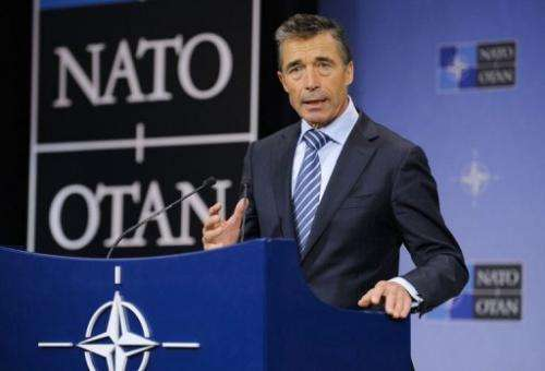 NATO Secretary General Anders Fogh Rasmussen speaks at a press conference on June 4, 2013, at the NATO Headquarters