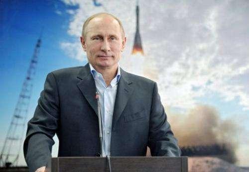 President Vladimir Putin inspects the new Vostochny (Eastern) cosmodrome in the Amur region, on April 12, 2013