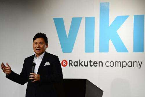 Rakuten chairman and CEO Hiroshi Mikitani at a business strategy briefing in Tokyo on October 18, 2013