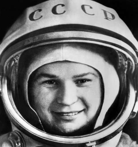 Russian cosmonaut Valentina Tereshkova, pictured at Baikonur cosmodrome, on June 16, 1963