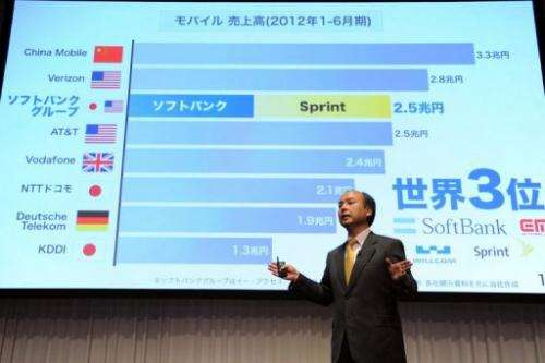 Softbank president Masayoshi Son presents the company's first half results in Tokyo on October 31, 2012