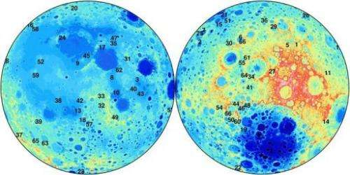 Some 66 of the possible 280 additional craters on the Moon, in a photo from  Curtin University released on June 18, 2013