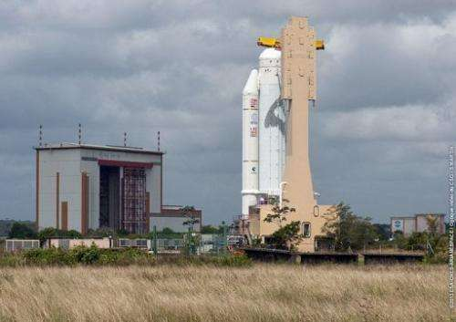 The Arianespace Ariane 5 VA213 stands on the launch pad at Kourou space center, French Guiana, March 11, 2013