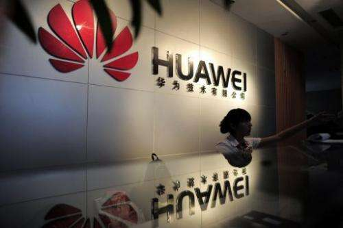The file photo shows a reception area at a Huawei office in Wuhan, central China's Hubei province, on October 8, 2012