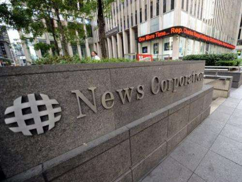The News Corporation building is pictured in New York on June 26, 2012