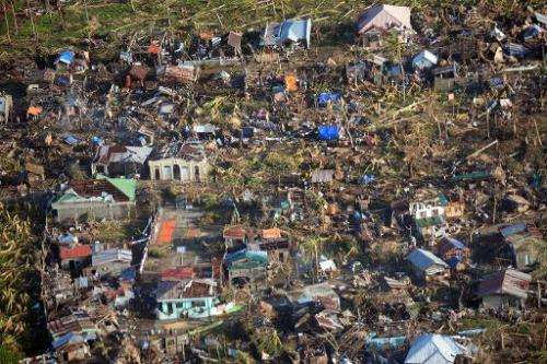 This aerial photo shows typhoon devastation in Eastern Samar province, central Philippines on November 11, 2013