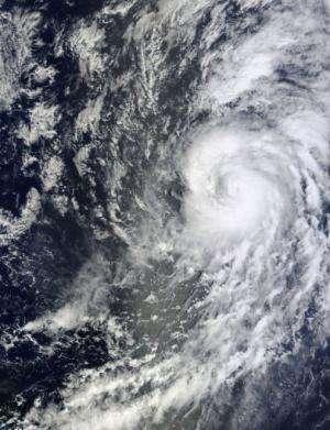 This image captured by NASA's Terra satellite on September 11, 2013, shows Hurricane Humberto in the mid Atlantic Ocean