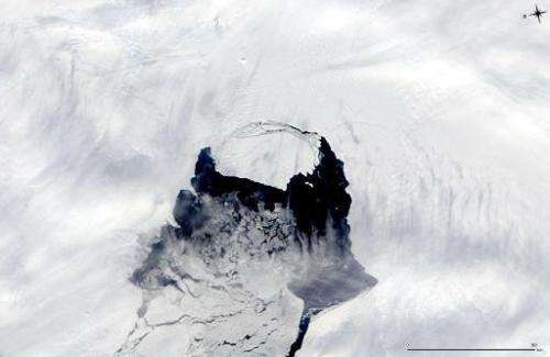 This November 10, 2013, MODIS image taken by NASA's Aqua satellite and released November 14, shows an iceberg (C) that was part