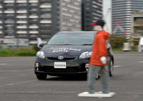 """Toyota Motor demonstrates its """"pre-collision system"""", which uses automatic steering in addition to automatic braking t"""