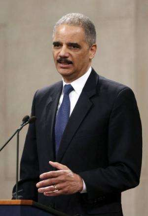 US Attorney General Eric Holder speaks at an event on May 1, 2013, at the Justice Department in Washington, DC