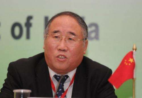 Xie Zhenhua addresses a press conference in New Delhi on February 14, 2011