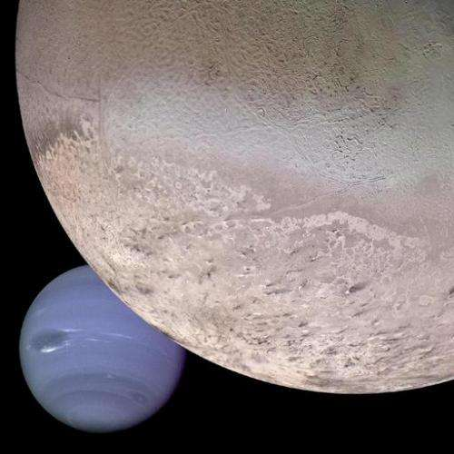 A computer generated NASA montage obtained 29 August 2002 from images collected by the Voyager 2 spacecraft shows Neptune (Lower
