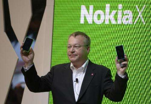 CEO of Nokia Corporation Stephen Elop presents the new Nokia X at the Mobile World Congress in Barcelona, on February 24, 2014