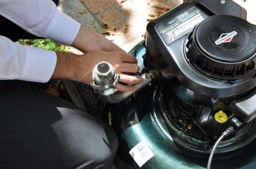 Device eliminates 93 percent of lawnmower pollutant