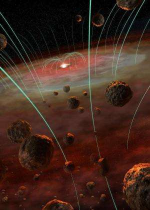 Magnetic fields frozen into meteorite grains tell a shocking tale of solar system birth
