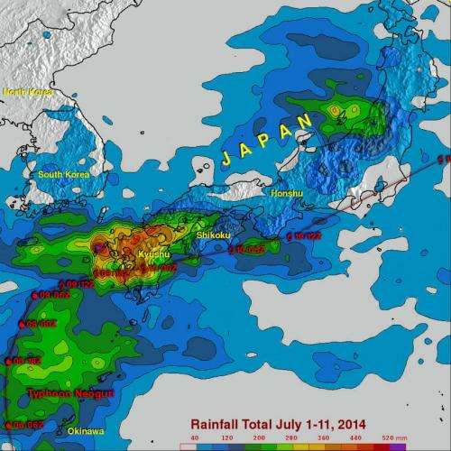 NASA adds up Tropical Storm Neoguri's deluge from space
