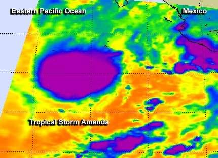 NASA's TRMM and Aqua satellites peer into Tropical Storm Amanda