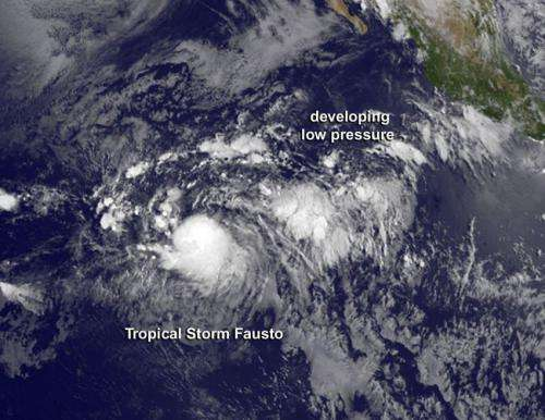 Satellite sees newborn Tropical Storm Fausto being 'chased'