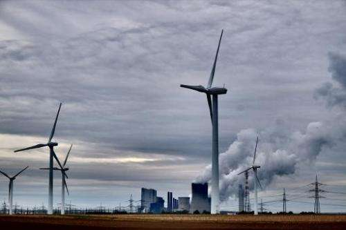 """The power plant """"Neurath"""" run by coal from the brown coal open cast mine Garzweiler, October 24, 2014 in Neurath, west"""