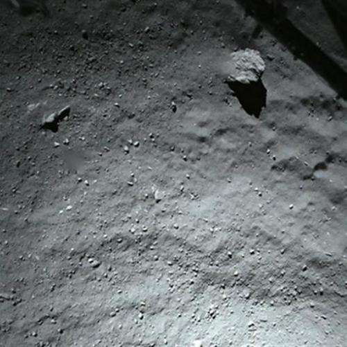 The surface of comet 67P/Churyumov-Gerasimenko pictured  during Philae's descent, from a distance of 40m above the surface, on N
