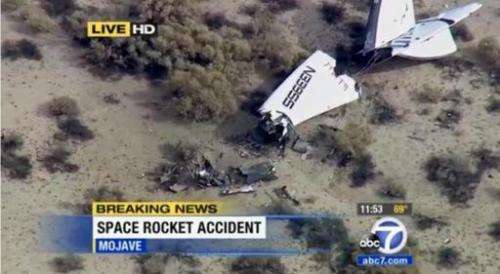 This image taken from video courtesy of KABC News in Los Angeles shows the wreckage of Virgin Galactic's SpaceShipTwo on October