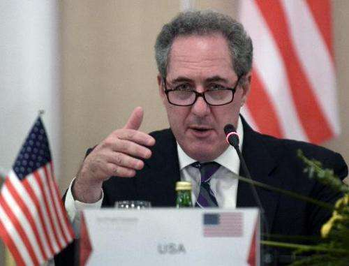 US trade representative Michael Froman speaks to reporters during a press conference in Singapore on May 20, 2014