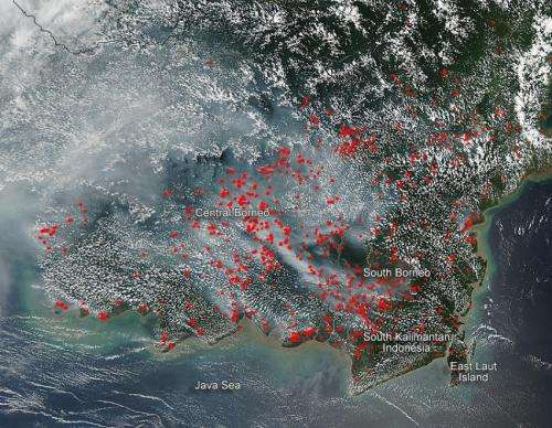 Agricultural fires blaze in Borneo