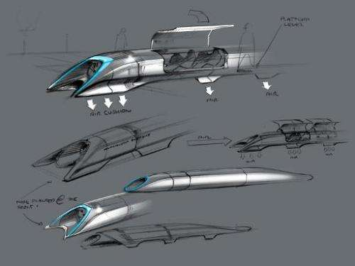 This handout photo released by Tesla Motors on August 12, 2013 shows the concept drawing of the Hyperloop, a fast transport desi