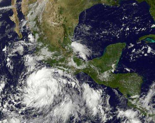 Tropical Storm Marie is seen south of Mexico's Pacific coast on August 22, 2014