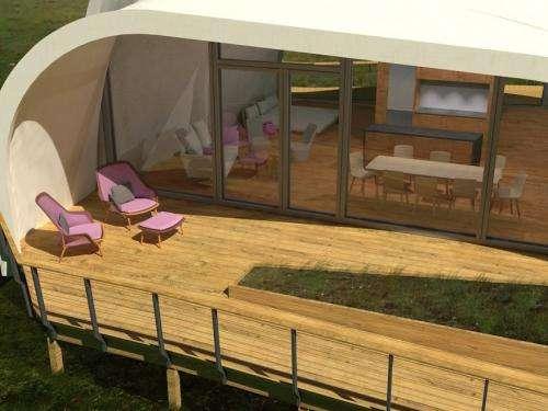 Team unveils unique fabric solar house