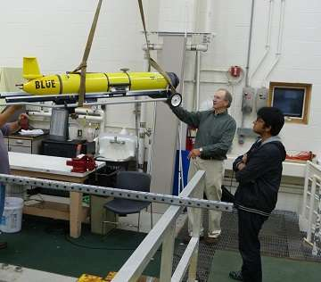 Researchers launching ocean glider to study water properties in the Middle Atlantic Bight