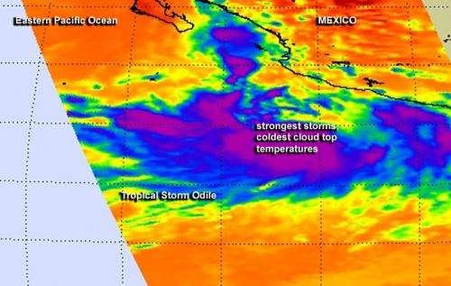 Tropical Storm Odile taken on by 2 NASA satellites
