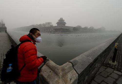 A Chinese tourist wears a face mask beside the Forbidden City as heavy air pollution continues to shroud Beijing on February 26,