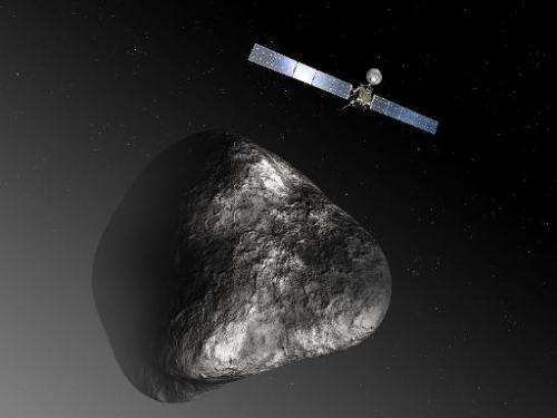 An artist's impression released by the European Space Agency on December 3, 2012 depicts the Rosetta spacecraft orbiting comet 6