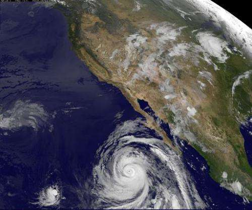 A satellite view of Hurricane Marie off the coast of Mexico