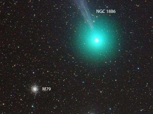 Comet Q2 Lovejoy flies past the globular cluster M79