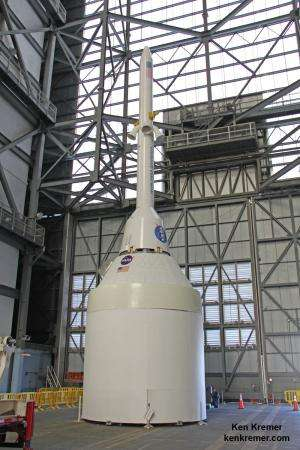 Launch abort system installed on NASA's Orion capsule
