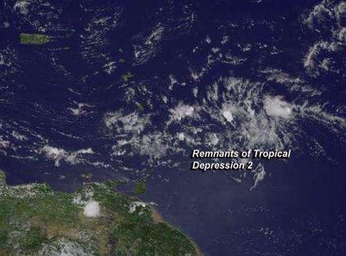 Satellite shows Atlantic Tropical Depression degenerate