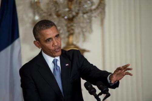 US President Barack Obama conducts a press conference on February 11, 2014 at the White House in Washington, DC