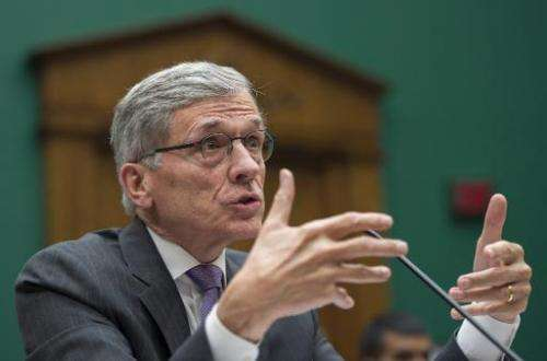 Federal Communications Commission (FCC) Chairman Tom Wheeler testifies before the Communications and Technology Subcommittee on