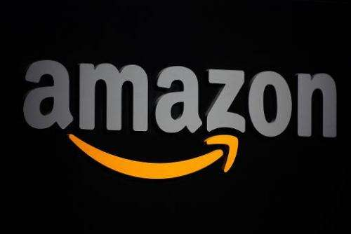 The Amazon logo is seen on a podium during a press conference in New York, on September 28, 2011