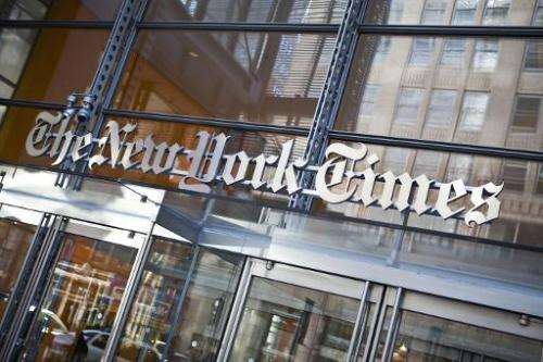 The New York Times logo is seen at the newspaper's headquarters on April 21, 2011 in New York