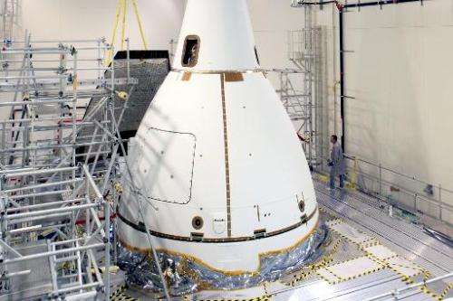 This NASA image released on November 6, 2014 shows Orion as it prepares to move to launch pad