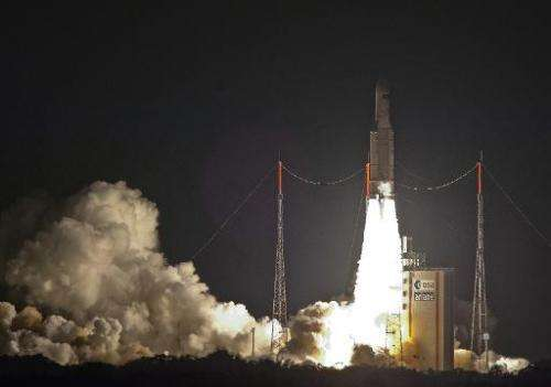 A handout picture taken and released on July 29, 2014 by the European Space Agency shows an Ariane 5 ES heavy rocket lifting off